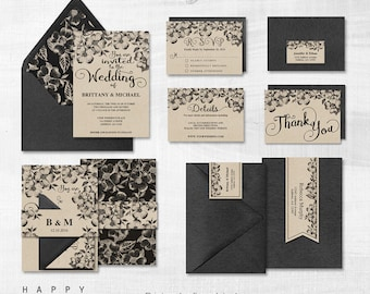 Printable Wedding Invitation Bundle, Editable Wedding Invitation Templates PDF files - Rustic Florals