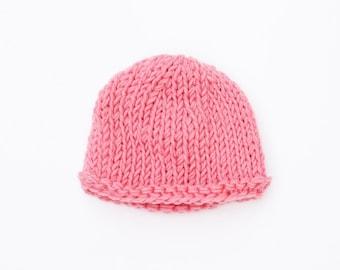 Pink baby hat, baby girl hat, baby hat, baby shower gift, newborn hat, knit baby hat, baby girl beanie, pink newborn hat, newborn