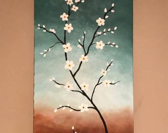 Cherry blossoms, White cherry blossoms, Tree painting, flower painting, 15x30 painting,art, decor, Acrylic painting, home decor