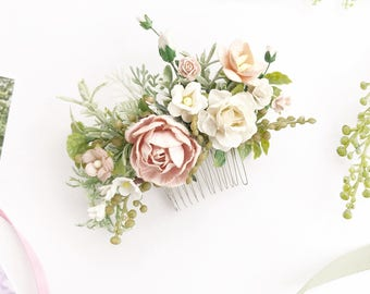 Bridal floral hair comb,  Flower Hair comb, Beige Wedding hair comb, Bridal floral headpiece, Bridal flowers hairpiece, Peach floral comb