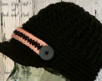 News Boy Hat in Black-Dusty Rose Highlights