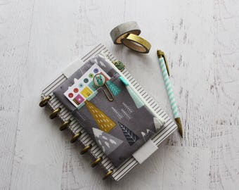 Gray pencil pouch - journal accessories bag - planner pen holder - planner elastic pouch - washi tape holder - pencil case
