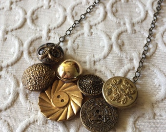 Antique Gold Button Assmeblage Necklace