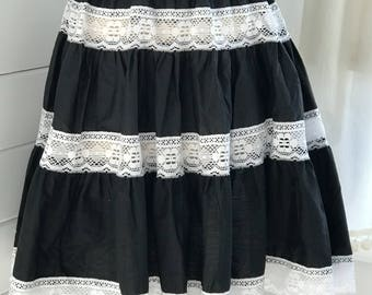 1960s Black Cotton and White Lace Patio Skirt / black and White Circle Skirt / Vintage Ruffled Skirt / 1960s