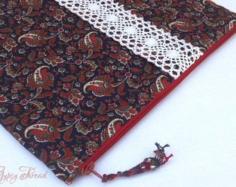 Paisley iPad Cover with Pocket, Navy, Red, and White, Vintage Trim, Padded, Zipper Case