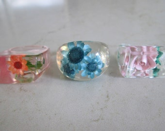 Vintage Lucite Resin Rings