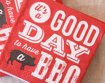 BBQ, Baby-q Paper Napkins, Picnic Napkins, Memorial Day Decor, 4th of July, Americana, Boots, Bourbon and BBQ Beverage, Backyard Barbecue