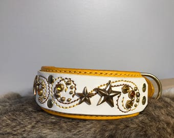 """2"""" Leather Collar with Swarovski Gems and solid brass hardware Customization Available"""