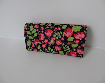 Navy poppy print clutch wallet, clutch bag, purse, womens purse, ladies wallet.