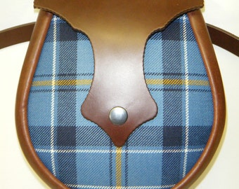 Handmade Custom Tartan &  Brown Leather Ness Sporran.