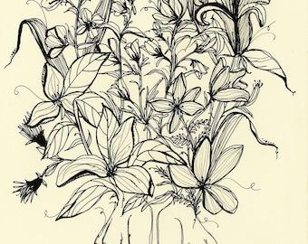 I Am Enough For Myself, 8x10 original ink illustration