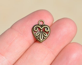10 Antique Bronze  Heart  Charms BC2749