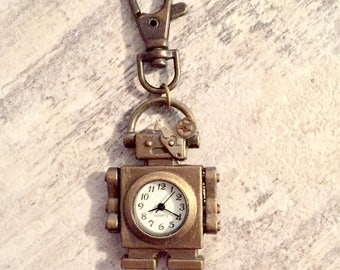 Steampunk Robot Watch Keychain or Steampunk Necklace, Key Chain Charm, Cyborg Keychain, Steampunk Jewelry, Watch Parts