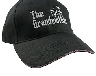 The Grandmother Godfather Style Parody White Embroidery on an Adjustable Fashion Structured Black Canadian Style and Flag Baseball Cap