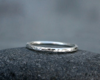 Sterling Silver Stacking Ring Band, Hammered Shiny Finish, Stacking Ring, Stackable Ring, One Stack Ring, Spacer Band Single Ring Sterling