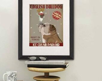 Bulldog art - English bulldog ice cream dog - English bulldog art gift Bulldog gift for girls English bulldog print art Cute English bulldog