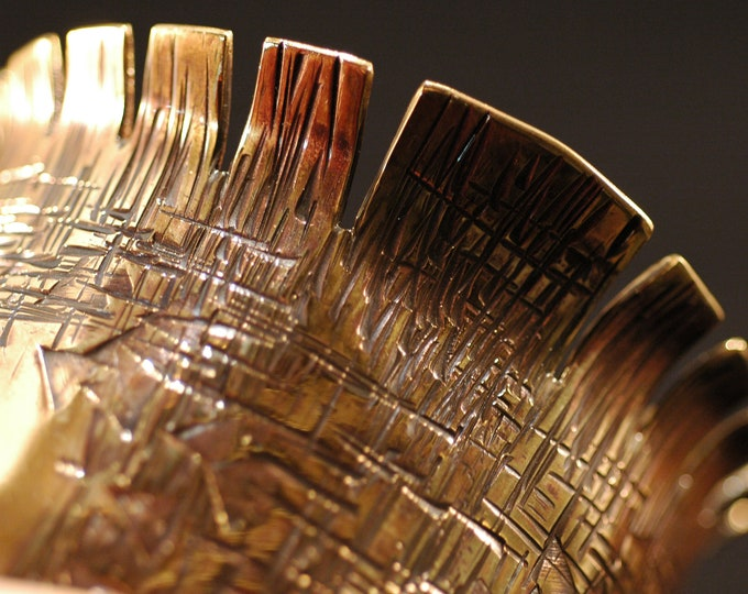 Hammered Brass Cuff-Handmade Flared Bracelet HammerTextured and Forged Nu Gold Jewelers Brass by Michael Fereira on Etsy