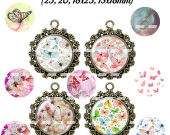 60 digital images for cabochon pastel Butterfly (25, 18 x 25, 20, 18x13mm)