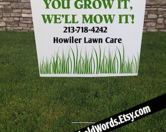Mowing Business custom Corrugated Yard Sign, Lawn care Business Signs, Metal Yard Stake, 24 x 18, Lawn yard Stake, Landscaping Yard Signs
