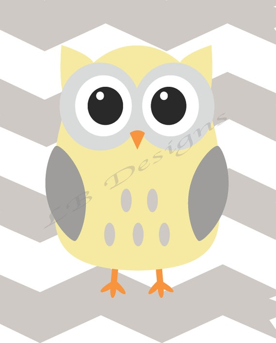 Woodland Nursery Decor Gray and Yellow Nursery Owl Nursery