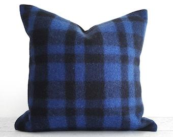 Buffalo Plaid Pillow, Blue Pillow, Wool Pillow, Blue Pillow Cover, Textured, Rustic Winter Decor, Cabin Pillows, Lumbar Pillow, 14x20, 18x18
