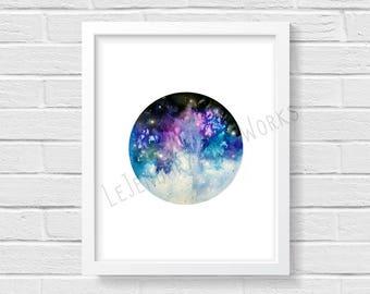 Galaxy #9, Pastel Blue and purple Galaxy with stars digital print. 8x10. Nights sky.
