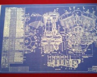 Harley Davidson Flathead Blueprint Art gift KeyWords: Poster, Photo, Print, Sign, Vintage Motorcycle Motor, Mancave, collectible,memorabilia