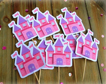 Set of Eight Castle Cupcake Toppers, Cupcake Toppers, Pink and Purple Castle, Fairy Tale Castle.