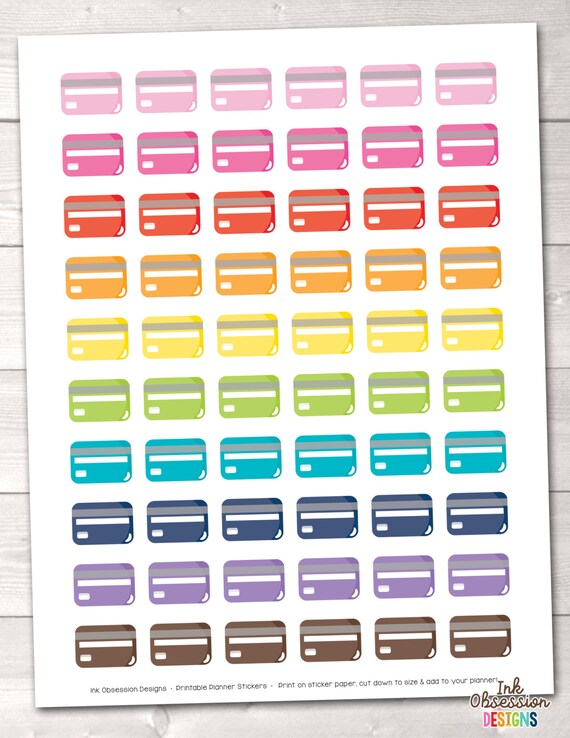 Credit Card Printable Planner Stickers Instant Download