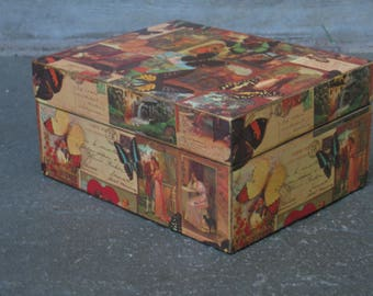 Decoupage Box, Decorative Paper, Keepsake Box, Note Box, Letters