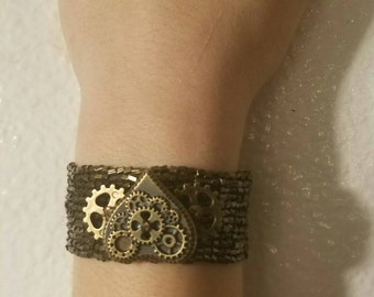 Steampunk Heart and Gears Bracelet
