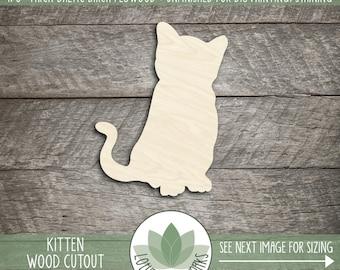 Kitten Wood Cut Shape, Unfinished Wood Kitten Laser Cut Shape, DIY Craft Supply, Many Size Options, Blank Wood Shapes