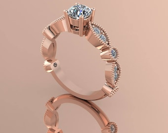 14K Rose Gold  Diamond  Center Stone Ring    K-RG1021