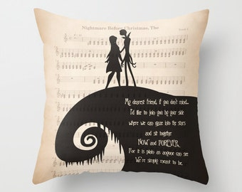 "The Nightmare Before Christmas Throw Pillow Jack and Sally ""My dearest friend"" Quote Pillow Jack and Sally Pillow Home Decor Wedding Gift"