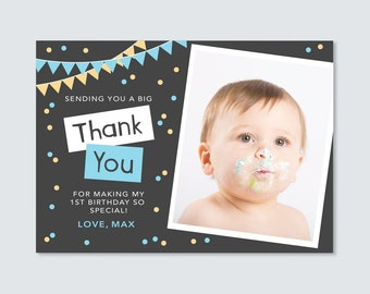 Birthday Boys Photo Thank you card // I customise for you to print // bunting and confetti