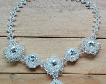 White Crystal and Pearl wedding necklace