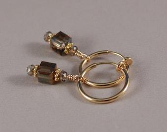 Clip on hoop earrings, Swarovski Crystal Bronze Shade with TierraCast spacers