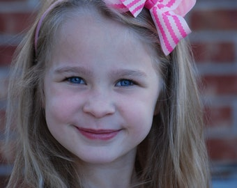 Pink Headband - Bow Headband - Pink Bow Headband - Toddler Headband - Hard headband - Pink Bow headband - Girls Headband - Headband - Bow