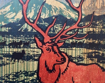 Cascadia Elk Fine Art Print with Pacific Northwest Volcanos Mount Hood and Mount Saint Helens