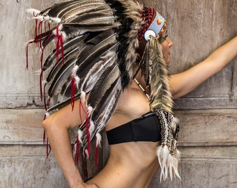 Native American Headdress , Indian Bonnet , short