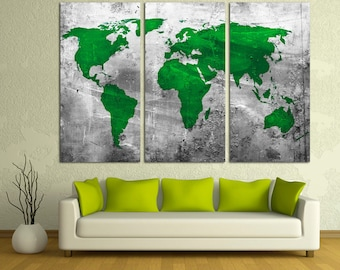 Abstract world map etsy silver green abstract world map canvas print 3 panel split triptych wall art gumiabroncs Images