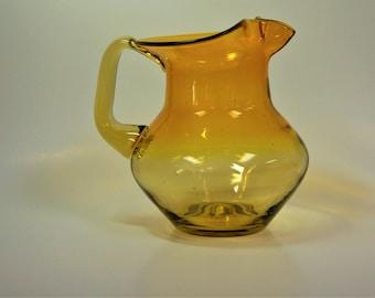 Blenko Glass hand blown pitcher #668S in lemon yellow, Joel Myers