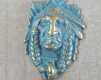 Indian Chief Head Turquoise Blue Patina over Gold Pewter Pendant
