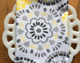 Yellow and Gray Floral Cloth Napkin