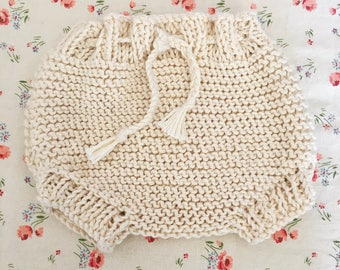 Ecru cotton baby bloomers