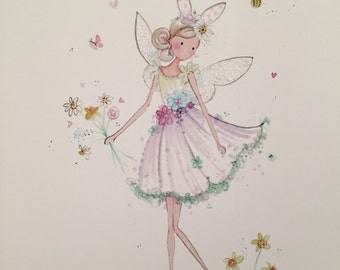 Lolli and Shell Spring bunny fairy print 5x7