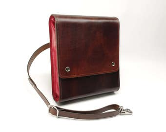 Medium Leather Messenger Bag v2.1 - Dark Brown & Red - CLEARANCE -