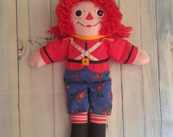 """Vintage  Raggedy Andy Toy Soldier, 1997 Hasbro Raggedy Andy, 13"""" Tall, Raggedy Andy as Toy Soldier"""