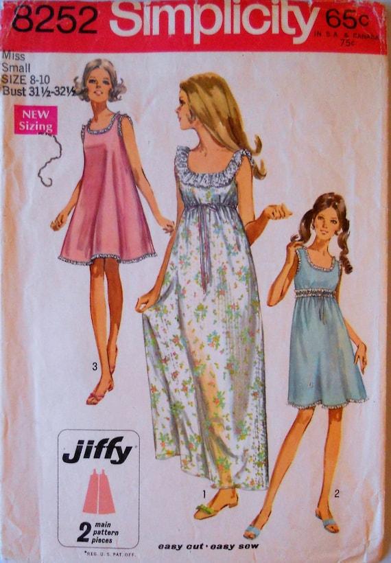 Ähnliche Artikel wie Einfachheit 8252. VTG 1969 Nachthemd Muster ...