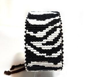 Bead Loom Cuff / Zebra Print / Bead Loom Bracelet / Hand Loomed / Adjustable Bracelet / Zebra Print Cuff / RobinsCreeCreations